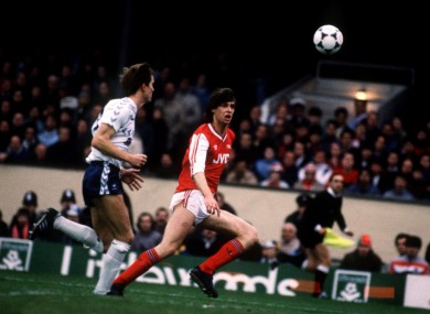 Quinn in action for Arsenal against Spurs in 1987.