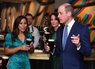 Duke and Duchess of Cambridge at a reception in the Guinness Storehouse.