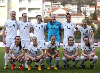 The Ireland women's national team pictured before Wednesday's win against Montenegro.