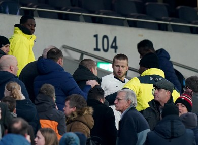 Eric Dier in an altercation with a fan last night.