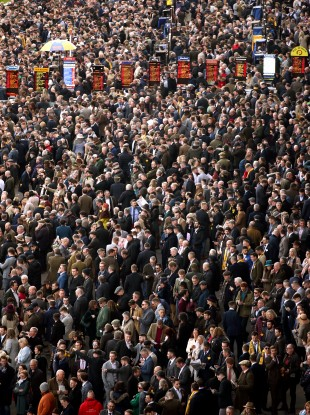 Crowds attend the Cheltenham Festival in the UK earlier this week