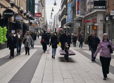 People on the main pedestrian shopping street in Sweden last Wednesday.