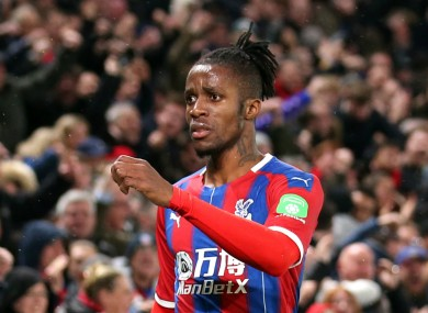 Crystal Palace forward Wilfried Zaha.