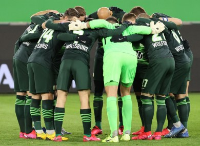 Wolfsburg's players ahead of their Europa League clash with Shakhtar Donetsk