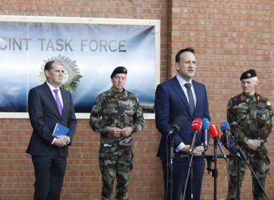 Taoiseach Leo Varadkar at McKee barracks today.