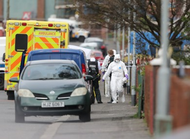 Police forensic officers at the scene of Robbie Lawlor's killing on Saturday.