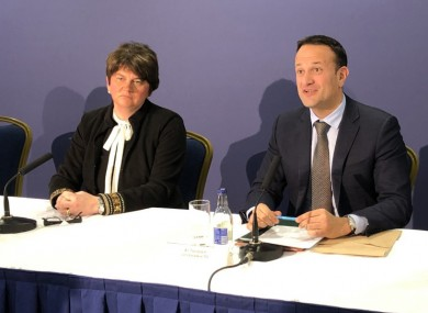 Arlene Foster and Leo Varadkar at a meeting to discuss the coronavirus crisis last month.