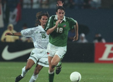Savage during Ireland's 2-2 draw with Mexico in 1996.