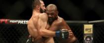 Dominick Reyes and Jon Jones (right) grapple at UFC 247.