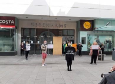 Protesters outside Debenhams on Tuesday.