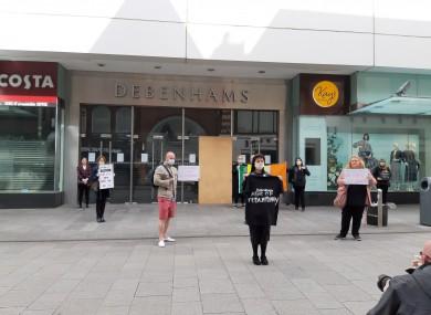 Staff protesting outside Debenhams on Henry Street.