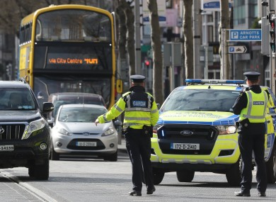 Gardaí carry out a checkpoint in Dublin earlier this week