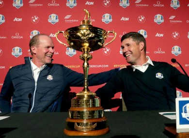 United: Stricker and Harrington at a pres conference last October.
