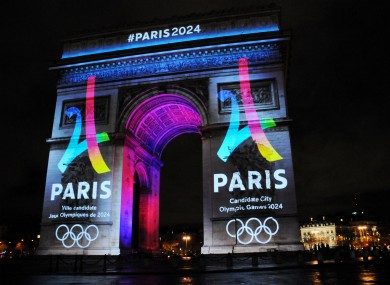 The logo for Paris as a candidate for the 2024 Olympics Games is projected onto the Arc de Triomphe in Paris in 2016.