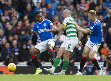 Action from last September's Old Firm derby.