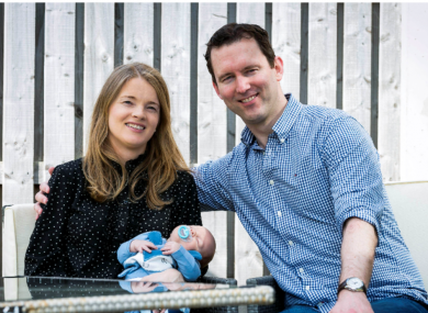 Pictured is the first baby to have his birth registered electronically, Aaron Rafferty from Malahide, County Dublin, with parents Nuala and Paul.