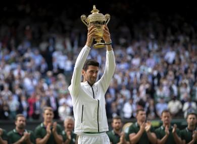 Novak Djokovic with the Wimbledon crown last year.