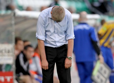 Stephen Kenny reacts to a missed chance late in a Shamrock Rovers game against Bray.