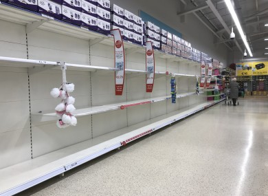 Shelves pictured in Tesco's Newbridge store after the Taoiseach announced the first stage of coronavirus restrictions, 12 March.