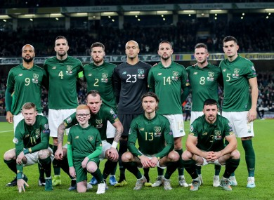 The Irish team, pictured above, as they played against Denmark.