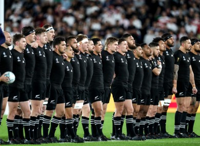The New Zealand team before last year's Rugby World Cup semi-final.