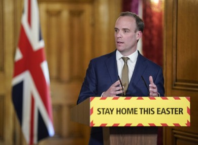 UK Foreign Secretary Dominic Raab at a press conference yesterday.