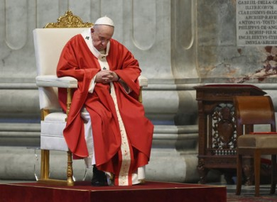 Pope Francis celebrates Palm Sunday Mass behind closed doors in St. Peter's Basilica.