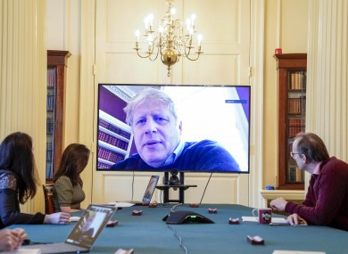 British Prime Minister Boris Johnson chairing a meeting remotely last week after being diagnosed with Covid-19.