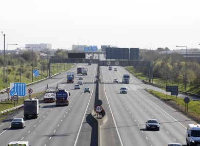 Pictured is much reduced rush hour traffic on the M50.