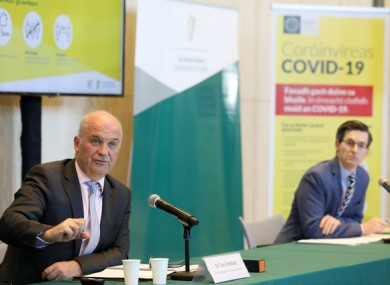 File image of Dr Tony Holohan and Dr Ronan Glynn at a press briefing on Covid-19 figures.