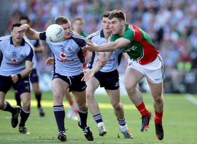 Ciaran Kilkenny tackling Seamus O'Shea during the 2013 All-Ireland final.