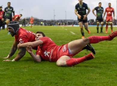 Pita Ahki of Toulouse scores a try during their Heineken Champions Cup Pool 5 match against Connacht at the Sportsground.
