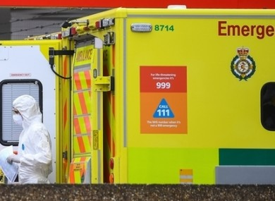 A paramedic coutside St Thomas' Hospital in Westminster.