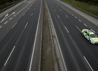 A Garda vehicle on an almost deserted section of the M50 motorway.