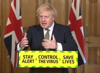 Prime Minister Boris Johnson during a media briefing in Downing Street today.