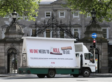 The billboard parked outside Leinster House today.