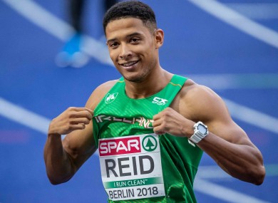Ireland's Leon Reid celebrates qualifying for the final of the 200m at the 2018 European Championships.
