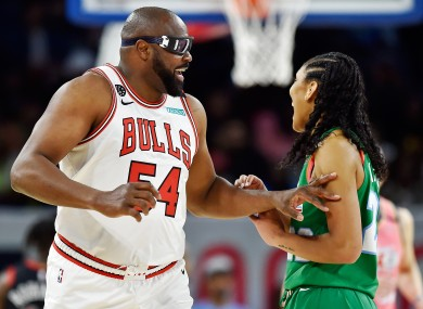 Horace Grant in action for Chicago Bulls in a NBA All Star-Celebrity Game earlier in 2020.