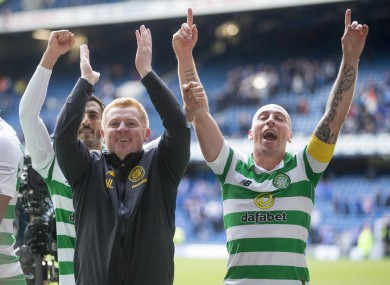 Neil Lennon and Scott Brown celebrating a victory at Ibrox in September.