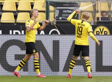 Erling Haaland celebrates a goal for Dortmund last weekend.