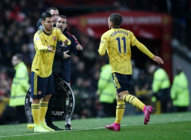 Dani Ceballos replaces Lucas Torreira for Arsenal in a Premier League clash at Old Trafford last year.