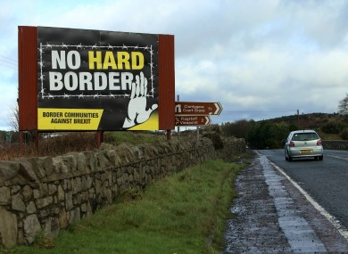 A billboard advocating against an Irish hard border in Jonesborough, Northern Ireland in January this year.