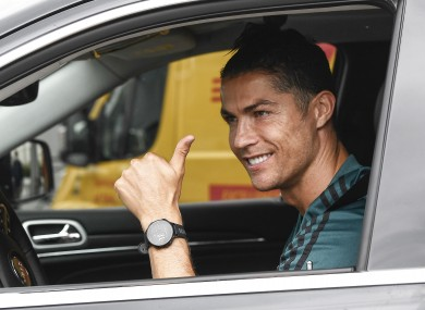 Cristiano Ronaldo arriving for training with Serie A leaders Juventus.