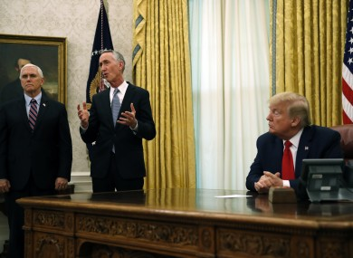 Daniel O'Day, CEO of Gillead Sciences Inc., speaks during a meeting with President Donald Trump in the Oval Office of the White House, Friday,