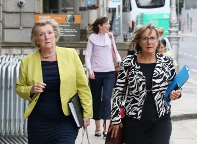 Orlaigh Quinn (Dept of Business) and  Julie Sinnamon (Enterprise Ireland) entering Leinster House today.