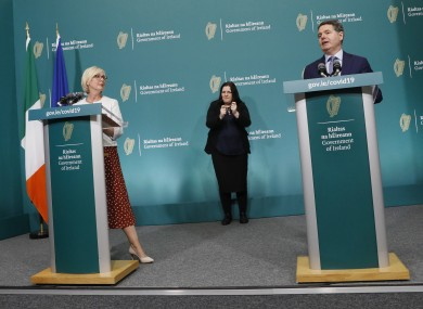 Ministers Regina Doherty and Paschal Donohoe at a press conference yesterday.