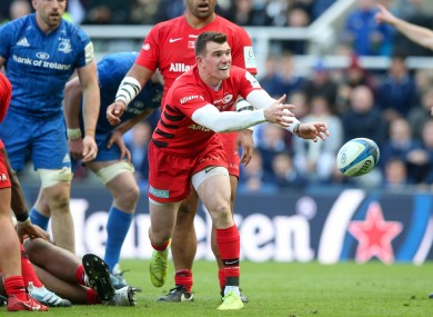 Ben Spencer gets a pass away during last season's Heineken Champions Cup final between Leinster and Saracens.