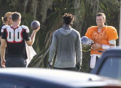 Brady, right, pictured this morning in Tampa.