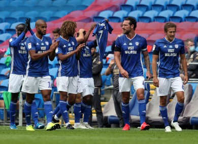 Cardiff City's Junior Hoilett celebrates his opening goal against Leeds United by paying tribute to former player Peter Whittingham who passed away earlier this year.