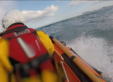 The volunteer RNLI crew aboard the inshore lifeboat today.